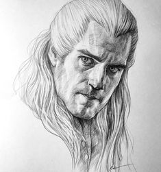 Henry Cavill as Geralt of Rivia, The Witcher The Witcher Geralt, Witcher Art, Art Drawings Sketches, Pencil Drawings, The Witcher Series, Yennefer Of Vengerberg, Face Sketch, Wall Drawing, Henry Cavill