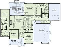 Craftsman Style House Plan - 3 Beds 3.5 Baths 2340 Sq/Ft Plan #17-2496 Floor Plan - Main Floor Plan - Houseplans.com