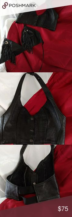 Leather halter tops To leather halter tops as a set unless asked to separate. One has Fringe going down the front and it ties around the neck and the back that is a medium, the other one snaps around the neck and has two elastic bands around the waist that is a size extra small. No reasonable offer is refused in my closet! Thank you for stopping by and checking out my closet and happy poshing to you! Please leave me a comment so I can check out yours! Tops Crop Tops