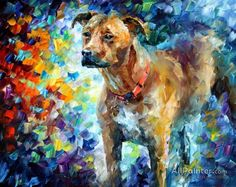 Dog 3 — palette knife oil painting on canvas by leonid afremov regarding wall art painting techniques Oil Painting Texture, Oil Painting On Canvas, Painting Art, Canvas Art, Painting Clouds, Painting Classes, Painting Tips, Painting Frames, Oil Painting For Beginners