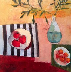 """Daily Painters Abstract Gallery: Contemporary Abstract Still Life Art Painting """"Fruit Table"""" by Santa Fe Artist Annie O'Brien Gonzales"""