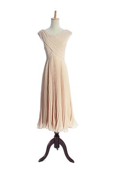 V-neck overlapped tea length pleated chiffon gown for girls,US$128.96   Read More:     http://image1.nextdressin.com/index.php?r=v-neck-overlapped-floor-length-simple-ruffle-chiffon-gown-for-girls-1.html