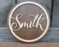 Name Round - Name Circle - Wooden Sign - Wedding Sign - Personalized Gift - Wedding Gift - Housewarming Gift - Anniversary Gift - Wooden Name Signs, Wooden Words, Wooden Wedding Signs, Wooden Names, Wedding Name, Gift Wedding, Wedding Ideas, Wood Circles, Personalized Wedding Gifts