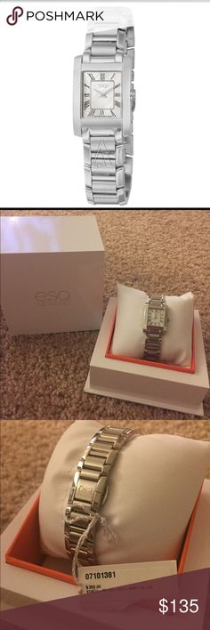 ESQ Movado Watch Two hand watch with stainless steel band and mineral crystal frame. Double folding clasps with push buttons. Watch has never been worn. In original packaging with tag still attached. Movado Accessories Watches