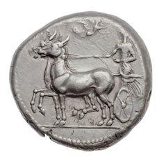 Tetradracma - argento - Messana (Messina), Sicilia (430-396 a.C.) - la ninfa eponima guida una biga al passo vs.sn. trainata da coppia di muliof - Museum of Fine Arts, Boston