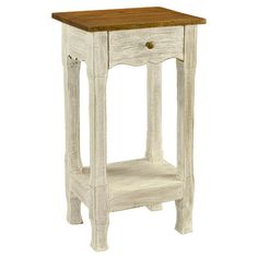 """Delia Side Table (Joss & Main) - Add a rustic-chic touch to your living room or home library with this distressed wood side table, showcasing 1 drawer and a scalloped apron. Product:Side table Construction Material:Wood and iron Color:White Features: Handcrafted One drawer Dimensions:29"""" H x 16.5"""" W x 12"""" D $84.95"""