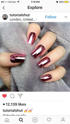 Need some nail art uñas uñas? browse these beautiful nail art designs and get inspired! Beautiful Nail Art, Gorgeous Nails, Pretty Nails, Fancy Nails, Diy Nails, Crome Nails, Nagellack Trends, Metallic Nails, Red Chrome Nails