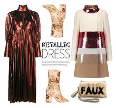 """Heavy Metal: Metallic Dresses"" by dorinela-hamamci ❤ liked on Polyvore featuring E L L E R Y, Giambattista Valli, polyvorecontest, metallicdress and polyvoreditorial"