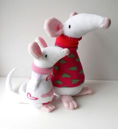 Sock mice | Flickr - Photo Sharing! cute mice in chunky sweaters their noses are adorable making some of these cute plushies