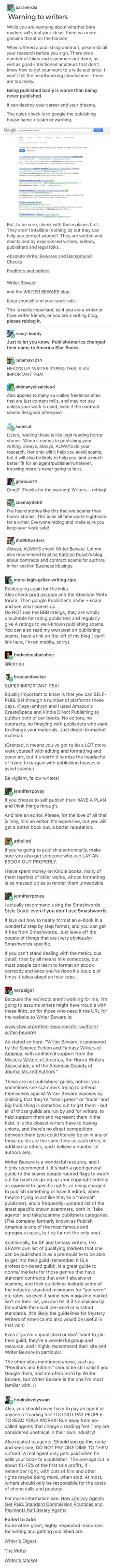 Warnings and advice for writers << this can save careers guys! Please repin!
