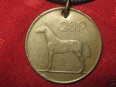 VINTAGE ANTIQUE CELTIC IRELAND IRISH HORSE/HARP COIN GOLD PENDANT NECKLACE #Handmade #Pendant