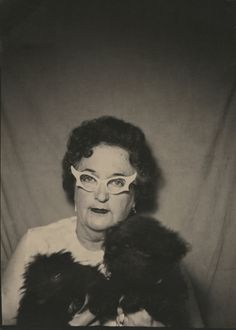 "https://flic.kr/p/dy6eBM | Woman with Horn-rimmed Glasses | Image approx. 3 3/8"" X 2 1/2"".  Original image in my collection.  Purchased at a paper show in Rockford, Illinois."
