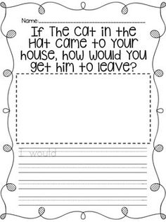 "This product features a writing prompt to accompany the classic book, The Cat in the Hat by Dr. Seuss. ""If the Cat in the Hat came to your house, how would you get him to leave?""It also allows space for the students to draw a picture. Enjoy and feedback is greatly appreciated! :)"