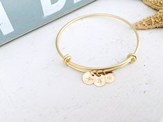 Initial bangle,set of 4, personalized initial bangles,bridesmaid bangles,14k gold filled,beach wedding,initial jewelry,handstamped initials, by toesinthesandjewels on Etsy