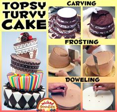 Tutorial or instructions on how to carve a topsy turvy, falling down, mad hatter or Alice in Wonderland cake using physics and contrapposto. Cake Decorating Icing, Creative Cake Decorating, Creative Cakes, How To Stack Cakes, How To Make Cake, Pokeball Cake, Cake Filling Recipes, Make Birthday Cake, Gravity Cake