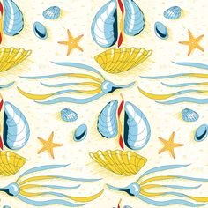 Sailing Seashells fabric by katrinazerilli on Spoonflower - custom fabric