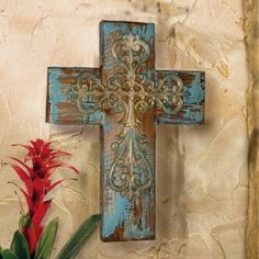 TUSCAN RUSTIC Old World MISSION WALL CROSS ~ Aged Barn Wood