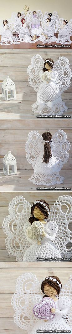 Stylowa kolekcja inspiracji z kategorii Hobby Crochet Christmas Ornaments, Holiday Crochet, Crochet Snowflakes, Christmas Angels, Christmas Crafts, Crochet Motif, Crochet Yarn, Crochet Patterns, Knitted Dolls