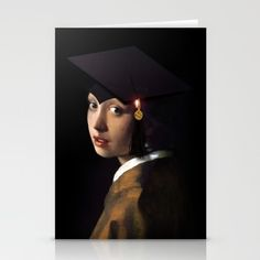Girl with the Grad Cap Greeting Card  by #Gravityx9 #Spoofingthearts #Just4grad -