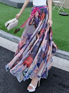 Shop Maxi Skirts - Purple Chiffon A-line Beach Floral Maxi Skirt online. Discover unique designers fashion at StyleWe.com.