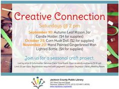 Join us for a seasonal craft for adults!  Sign up for Creative Connection at the Seymour, Crothersville or Medora library checkout desks.  Payment for supplies required with registration.
