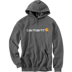 Carhartt Signature Logo Pullover Hoodie ($40) ❤ liked on Polyvore featuring men's fashion, men's clothing, men's hoodies, mens hoodies, mens hooded sweatshirts, mens hoodie and mens sweatshirts and hoodies