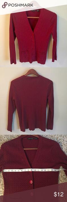 Jeanne Pierre Cotton Cable Knit Excellent condition, dark red cable knit cardigan with large buttons and two front pockets. 100% cotton. Long sleeved, medium weight. Measurements in photos. Size large. Jeanne Pierre Sweaters Cardigans