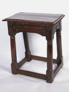 Pre-1800 Furniture Lovely Very Rare 17th C Pilgrim Joint Stool In Oak With Molded Aprons Old Surface