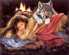 Девушка и волк. Картина раскраска по номерам. размер 40х50см.