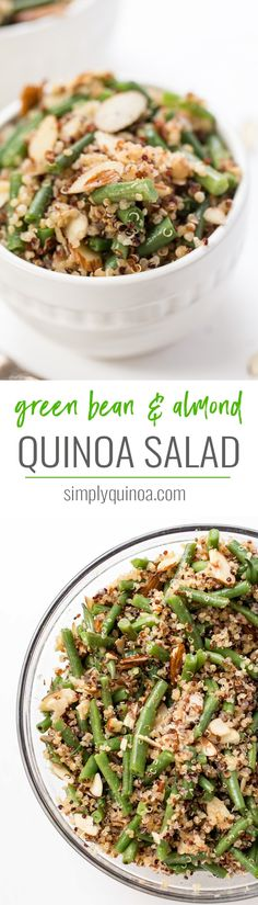 This HEALTHY Green Bean & Almond Quinoa Salad makes for the perfect side dish! Quick, easy, flavorful and fits all diets! Simply Quinoa #quinoasalad #greenbeansalad #almondsalad