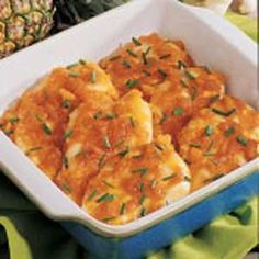 Chicken with Pineapple Sauce Recipe -This pineapple chicken is such a step up from a plain chicken breast. My family thinks the glaze also tastes good over ham. —Mary Ealey, Smithfield, Virginia