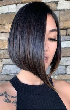 Inverted Bob For Fine Hair - Cute Inverted Bob Haircuts: Sexy Short & Long Inverted Bob Hairstyles Asymmetrical Bob Haircuts, Inverted Bob Hairstyles, Hairstyles Haircuts, Hairstyles Pictures, Layered Haircuts, Interview Hairstyles, Haircut For Thick Hair, Cute Hairstyles For Short Hair, Curly Hair Styles