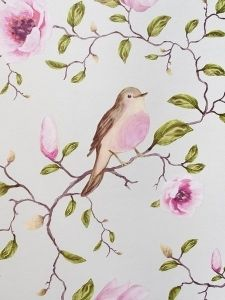 Eijffinger Un Bisou Patterned Floral Magnolia Bird Feature Wallpaper Blue 310010 Feature Wallpaper, Of Wallpaper, Designer Wallpaper, Shabby Look, Chinoiserie Wallpaper, Print Patterns, Hello Kitty, Decoration, Drawings