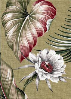 70Night Blooming Tropical Hawaiian Hawaiian Night Blooming flowers - sage cotton barkcloth fabric.Add Discount code: (Pin10) in comment box at check out for 10% off sub total at BarkclothHawaii.com