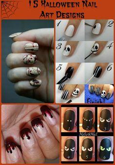 15 Seriously Awesome #Halloween Nail Art Designs via www.GrandmaJuice.net  #NailArt