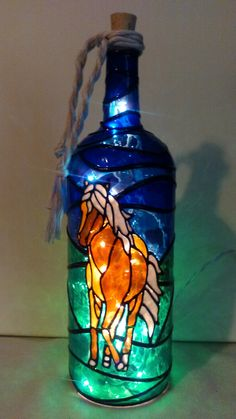 Horse Lover Bottle Lamp Hand Painted Stained Glass Look Lighted by HillysBoutique on Etsy