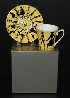"""Nordstrom Yellow Black """"CIRCLE OF STYLE"""" Coffee Cup & Saucer Set by R Toledo NIB"""