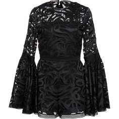 Alexis     Rihanna Flared Lace Romper ($595) ❤ liked on Polyvore featuring jumpsuits, rompers, alexis, dresses, black, bell sleeve romper, lace rompers, playsuit romper, open back romper and lace romper