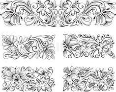 symmetric horizontal floral patterns