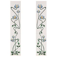 The Cast-tec Mediterranean Poppy tile set is comprised of two panels for either side of the fireplace. Each panel is made up of five tiles in a floral pattern rising from the stem to the flower. Available in an ivory and blue finish. Tv Above Fireplace, Home Fireplace, Fireplace Surrounds, Fireplace Tiles, Fireplaces, Tiles For Sale, Art Nouveau Tiles, Antique Tiles, Fireplace Accessories
