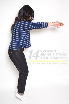 Jean Fitting Adjustments for Your Best Fitting Jeans! 14 easy to understand diagrams illustrating how to diagnose pants and jeans fitting problems, and how adjust pattern pieces to fix them. Sewing Hacks, Sewing Tutorials, Sewing Projects, Sewing Tips, Sewing Jeans, Sewing Clothes, Sewing Patterns Free, Free Sewing, Free Pattern