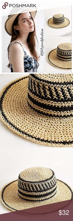 "Urban Outfitters Geo Straw Packable Boater Hat Urban Outfitters Ecote Geo Straw Packable Boater Hat Every vacation + sunny day needs this geo-patterned straw boater hat from bohemian brand Ecote, available exclusively at UO. Made in a lightweight, flexible, travel-ready straw with a flat top crown with structured brim, perfect for keeping you in the shade and letting the breeze filter through. New with tag.   Content + Care - Paper - Spot clean - Imported  Size - Height: 4"" - Brim length…"