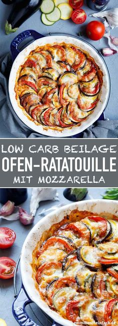 Ratatouille from the oven with mozzarella - easy to cook - Low Carb Recipes Veggie Recipes, Low Carb Recipes, Vegetarian Recipes, Healthy Recipes, Diet Recipes, Zucchini Aubergine, Menu Dieta, Low Carb Side Dishes, Oven Dishes