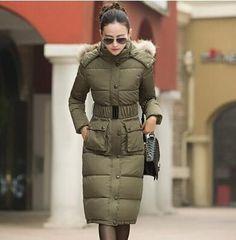 Winter Long Jacket Women 2016 New Flower Print Fur Collar Hooded Down Cotton Padded Jackets Thick Winter Coat Women Parkas WT217