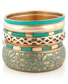 teal and gold bangles