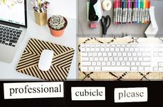 54 Ways To Make Your Cubicle Suck Less. I could def use some of these at work.though I have a desk not a cubicle :) Cubes, Feng Shui, Cubicle Organization, Organization Ideas, Office Cube, Cozy Office, Work Cubicle, Cubicle Design, Cubicle Ideas