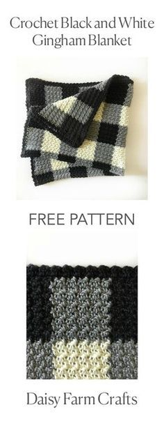 FREE PATTERN - Croche t Black and White Gingham Blanket