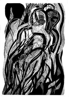 Mother Theresa from Kalkuta, 100x70cm linocut, 2013, Marta Bożyk