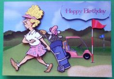 Card Gallery - Lady Golfer Card Front and Decoupage