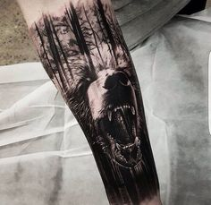 Realistic Tattoos with Morphing Effects by Benji Roketlauncha Realistic Tattoos with Morphing Effects by Benji Roketlauncha awesome double exposure bear tattoo © tattoo artist Benji_Roketlauncha 💘💘💘💘💘 Wolf Tattoo Sleeve, Tattoo Sleeve Designs, Forearm Tattoo Men, Sleeve Tattoos, Forest Tattoo Sleeve, Forest Forearm Tattoo, Nature Tattoo Sleeve, Mandala Tattoo, Dark Forest Tattoo